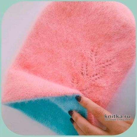 Двухцветная шапка бини спицами. Работа Натальи. Вязание спицами.