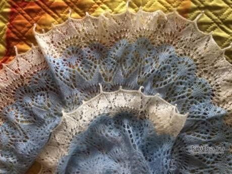 Шаль спицами ФРЕЯ. Работа Кузьминовой Татьяны вязание и схемы вязания