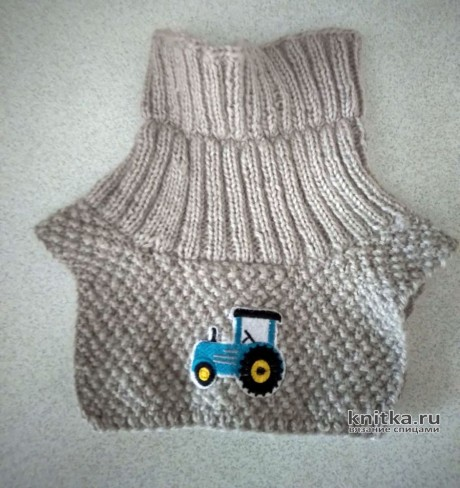 Теплая манишка спицами для ребенка 2-3х лет. Работа Ники. Вязание спицами.