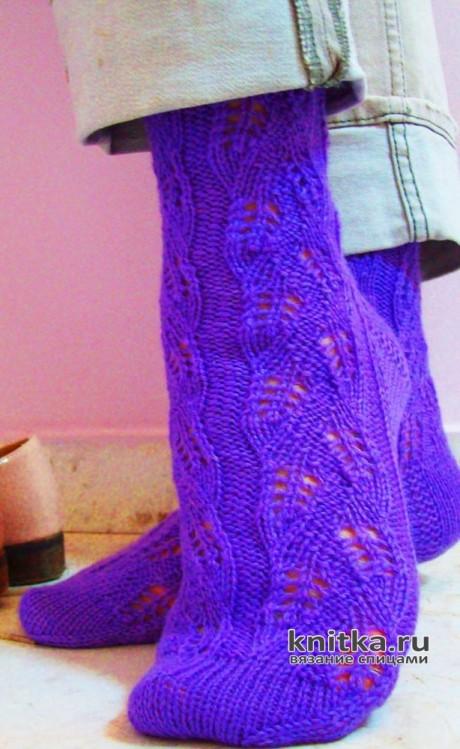 Узор для носков спицами ЦВЕТЫ ПРОВАНСА вязание и схемы вязания
