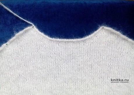 Женский свитер спицами с рукавом фонарик. Работа Елены вязание и схемы вязания
