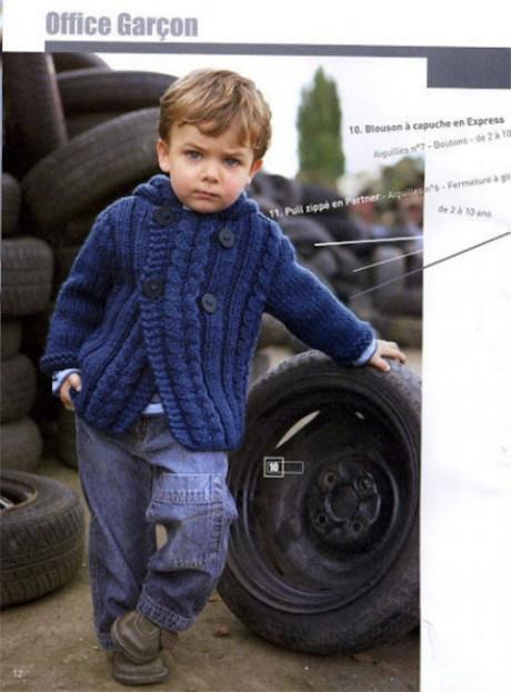 Синяя кофта для мальчика спицами