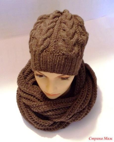 Комплект: шарф резинкой и шапка спицами