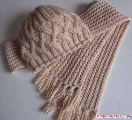 Шапка шарф спицами 2