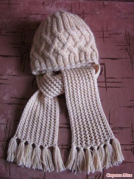 Шапка шарф спицами 4