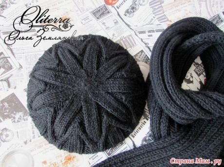 Шапка шарф спицами 1