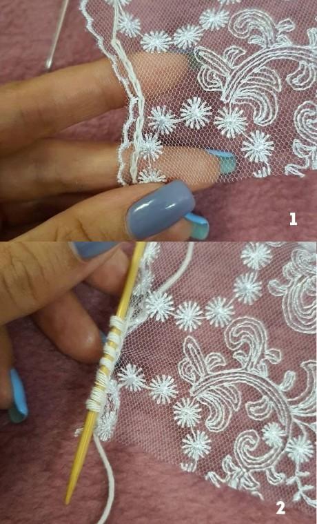 Романтический топ с кружевом спицами Как присоединить кружево к вязаному полотну: