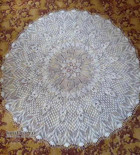 Невероятная скатерть связанная спицами. Работа Аллы Стрецкул. Вязание спицами. 0n