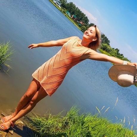 Платье туника спицами для женщин