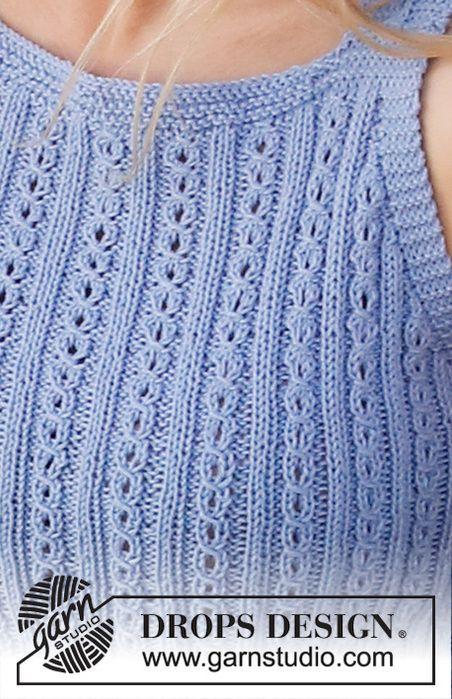 Вязание топа AMALFI BLUE спицами для женщин 1