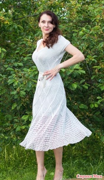 Летнее платье спицами из шелка 0