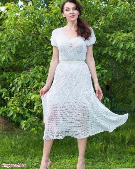Летнее платье спицами из шелка 3