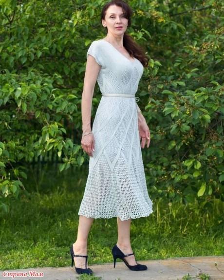 Летнее платье спицами из шелка 4