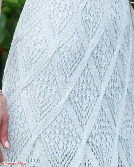 Летнее платье спицами из шелка 5