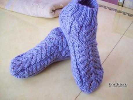 Носочки-тапочки на двух спицах КУБАЧИ. Видео-урок. Вязание спицами.