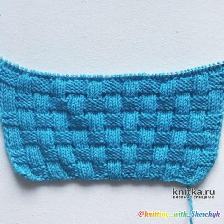 Узор спицами Плетенка ажурная, видео-урок вязание и схемы вязания