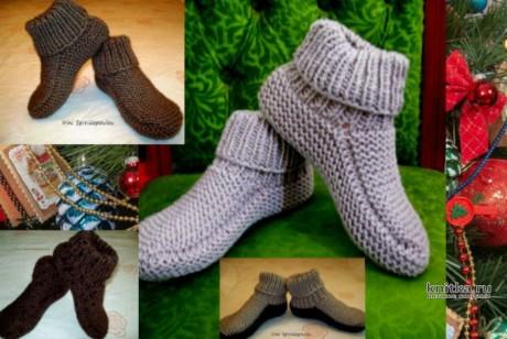 Вязанные теплые тапочки спицами, видео-урок вязание и схемы вязания