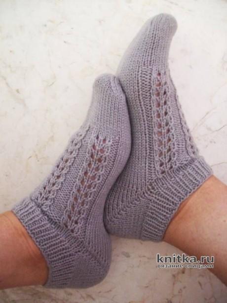 Короткие носочки спицами с ассиметричным мыском СНИКЕРСЫ. Вязание спицами.