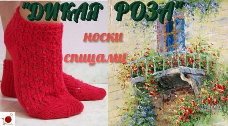 Носки спицами ДИКАЯ РОЗА вязание и схемы вязания