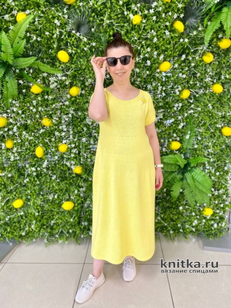 Платье спицами Лимонное настроение. Вязание спицами. 0n