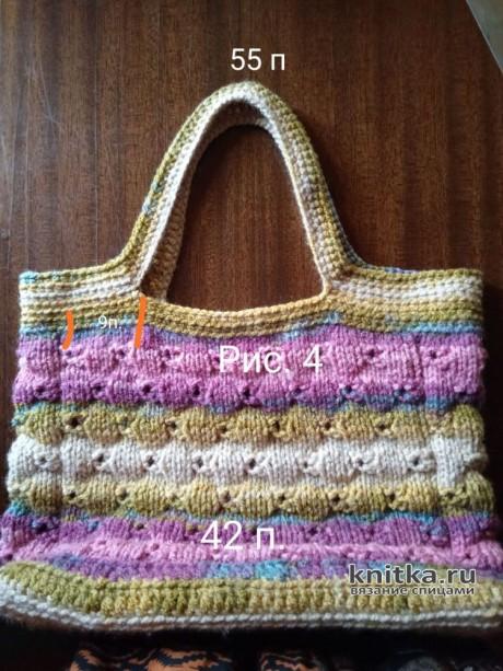 Вязанная спицами летняя сумка. Работа Маргарита Шопхолова вязание и схемы вязания