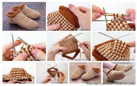 Носки - тапочки связанные спицами ленивым жаккардом 0