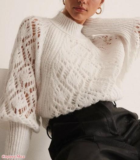Схема узора для ажурного свитера спицами 1