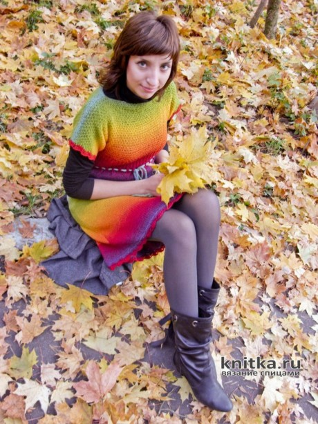 Осенний блюз - платье спицами из секционной пряжи Кауни. Работа Светланы вязание и схемы вязания