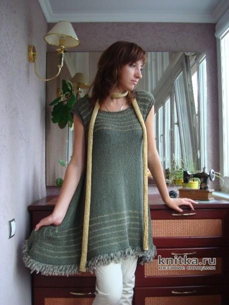 Туника с вытянутыми углами, связанная спицами. Авторская работа Светланы вязание и схемы вязания