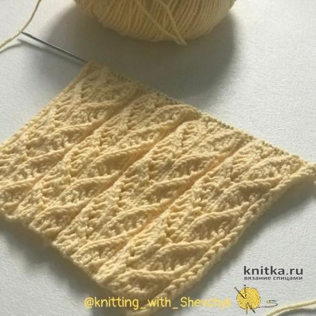 Узор спицами Ажурные дорожки, описание и видео-урок вязание и схемы вязания