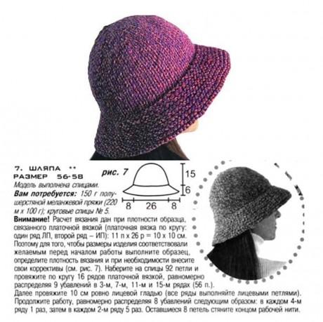 Теплая шляпа спицами для женщин