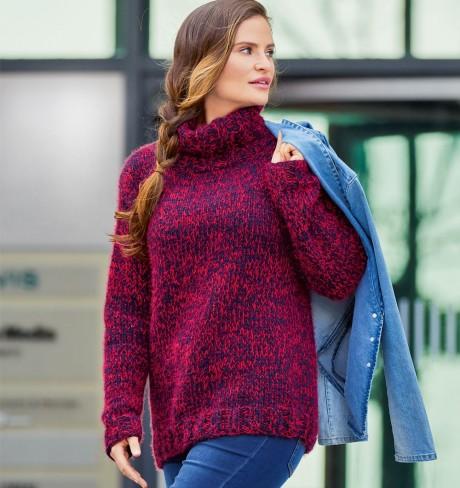 Меланжевый свитер из толстой пряжи
