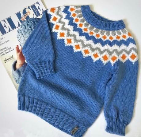 Детский свитер спицами Лопапейса