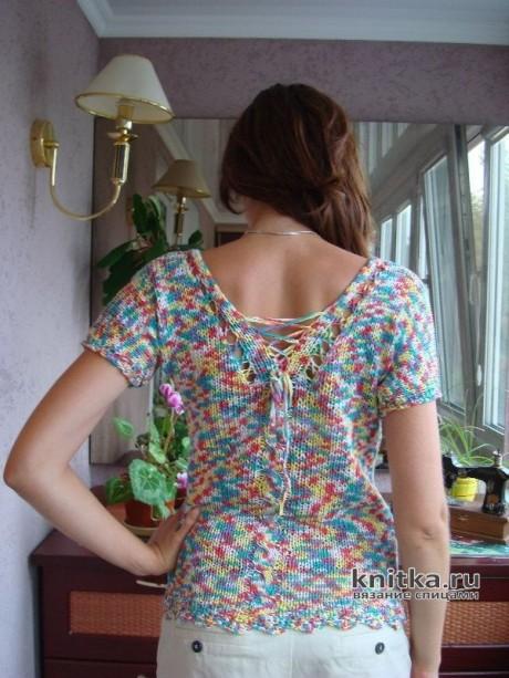 Монпансье. Топ из меланжевой ленточной пряжи, связанный спицами вязание и схемы вязания