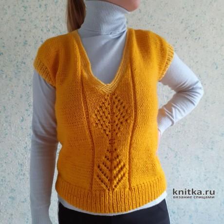 Жёлтый жилет спицами для женщин. Работа Валерии. Вязание спицами.