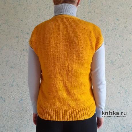 Жёлтый жилет спицами для женщин. Работа Валерии вязание и схемы вязания