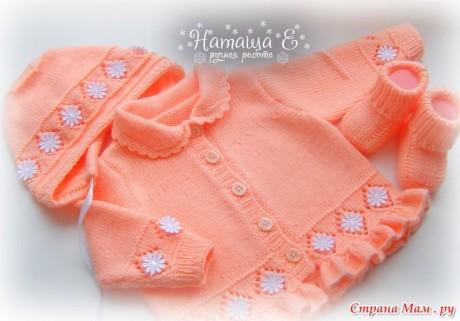 Комплект спицами для маленькой девочки. Вязание спицами.