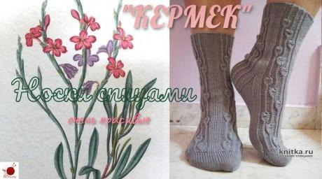 Очень красивые носочки КЕРМЕК спицами. Вязание спицами.