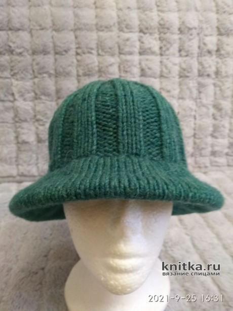 Теплая шляпа спицами. Работа Елены. Вязание спицами. 0n
