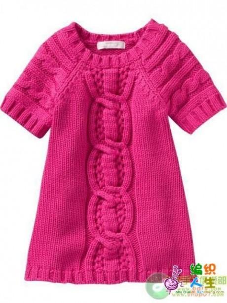 Теплое платье туника для девочки спицами