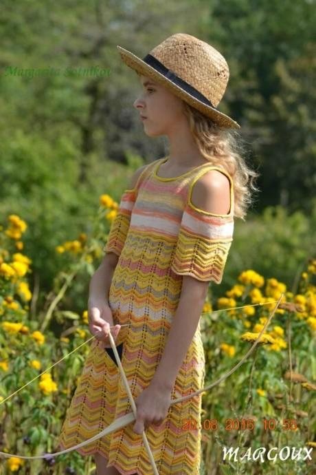 """Летнее платье для девочки спицами """"Wild Style"""""""