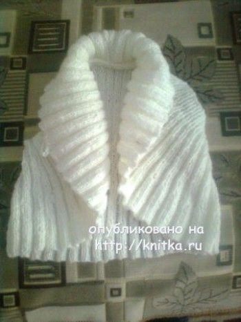 Вязаное спицами болеро – работа Валерии. Вязание спицами.