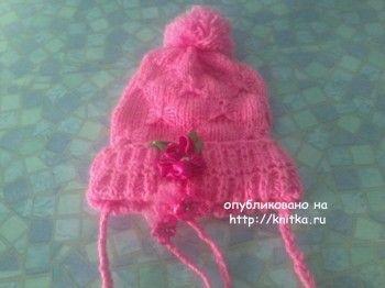 Весенняя шапочка Арина. Вязание спицами.