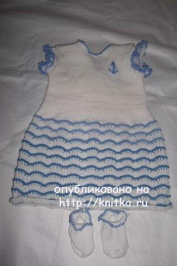 Вязаное спицами платье – работа Анны. Вязание спицами.