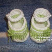 Пинетки – туфельки, связанные спицами