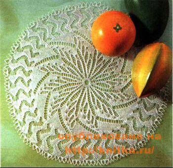 """Белая салфетка """"хризантема"""". Вязание спицами."""