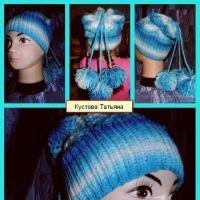 Вязаная спицами шапочка – работа Татьяны