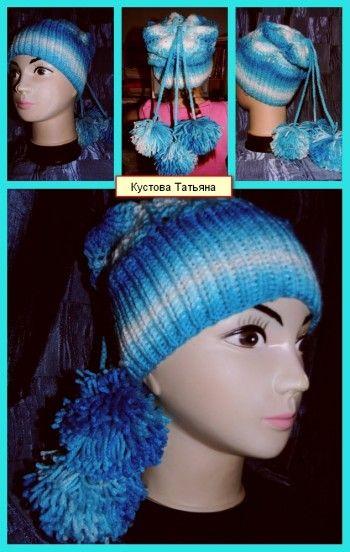 Вязаная спицами шапочка – работа Татьяны. Вязание спицами.