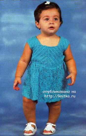 Платье для девочки вязанное спицами. Вязание спицами.