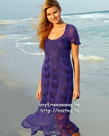 Ажурное платье спицами, вязание из мохера